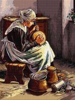 Fetiță curățând vase
