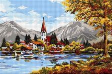 Peisaj elvețian cu lac