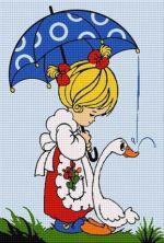 Fetiță cu umbrelă