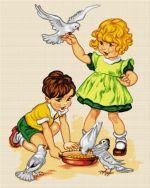 Copii cu porumbei
