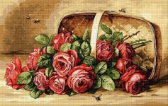 Coș cu trandafiri